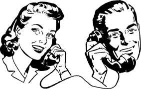 a man and woman talking on the telephone