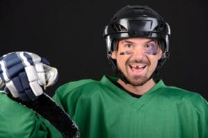 Hockey player with a knocked out tooth